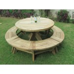 Vintage Teak round table is 1.3m and 3 curved benches