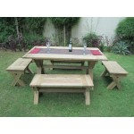 Vintage Teak Rectangular table is 1.7m x 90cm with 4 benches