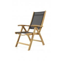 Gloucester Teak Textilene Recliner Garden Chair