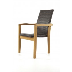Kendal Teak And Poly Rattan Garden Stacking Chair
