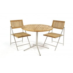 Kinver 90 Teak And Stainless Steel Bistro Set With Folding Chairs