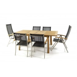 Nevis Extendable Table With Ocean Recliners And Ocean Stacking Chairs