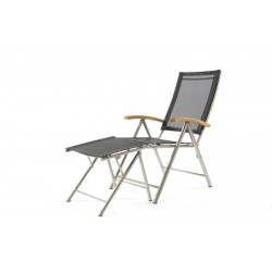 Ocean Teak Stainless Steal Textilene Recliner Garden Chair