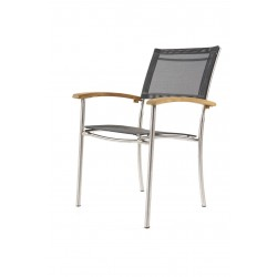 Ocean Teak Stainless Steel Textilene Stacking Garden Chair
