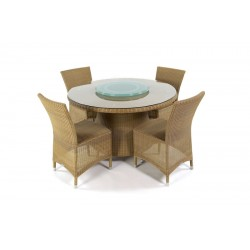 Pacific 120 Honey All Weather Set With Side Chairs And Lazy Susan