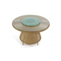 Pacific 120 Honey All Weather Table With Glass Lazy Susan