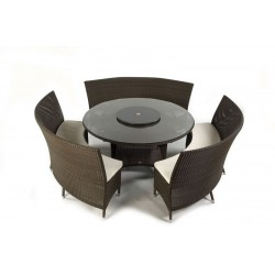 Pacific 150 Ebony Set With Double Bench Cushions And Lazy Susan