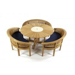 Sunshine 160 Teak Garden Set with Cornwall Benches