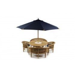 Sunshine 160 Teak Round Table With 2 Benches 2 Arm Chairs Parasol And Base